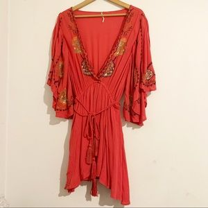 Free People Coral Red Embroidered Dress
